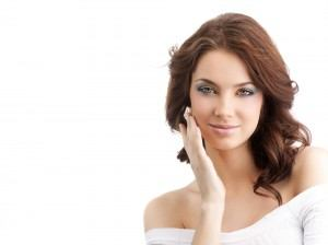 Model touching face | North Vancouver Permanent Makeup | Afterglow Skin Clinic